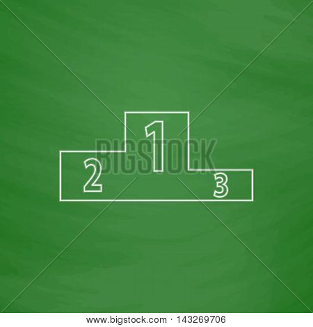 Podium Outline vector icon. Imitation draw with white chalk on green chalkboard. Flat Pictogram and School board background. Illustration symbol