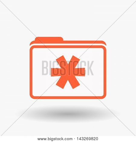 Isolated  Line Art  Folder Icon With An Asterisk