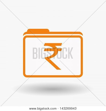 Isolated  Line Art  Folder Icon With A Rupee Sign