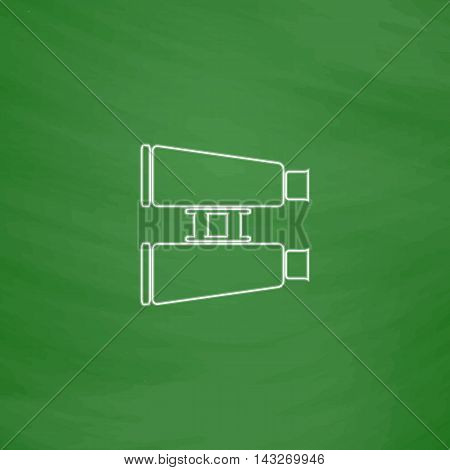 binoculars Outline vector icon. Imitation draw with white chalk on green chalkboard. Flat Pictogram and School board background. Illustration symbol