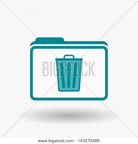 Isolated  Line Art  Folder Icon With A Trash Can