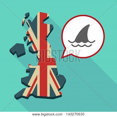 Long Shadow United Kingdom Map With A Comic Balloon And A Shark Fin
