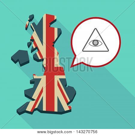 Long Shadow United Kingdom Map With A Comic Balloon And An All Seeing Eye