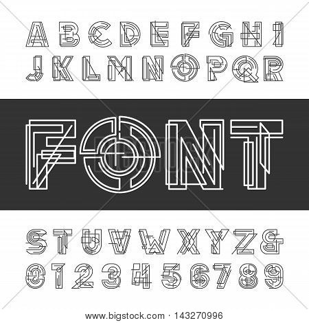 Decorative geometric alphabet font. Type letters and numbers. Vector typeface for headlines, posters etc.