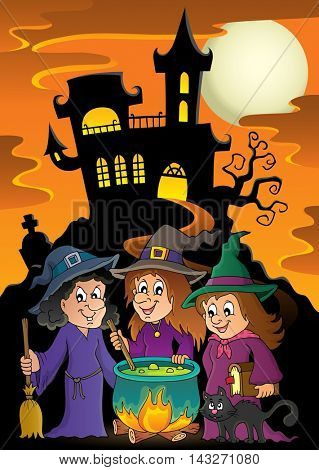 Three witches theme image 5 - eps10 vector illustration.