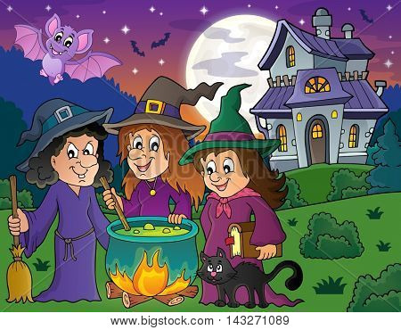 Three witches theme image 4 - eps10 vector illustration.