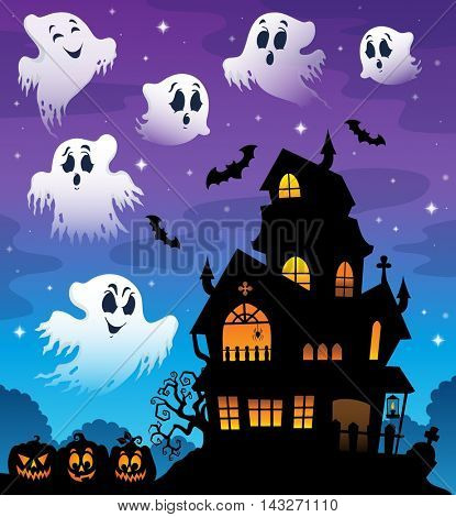Haunted house silhouette theme image 7 - eps10 vector illustration.