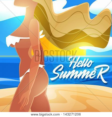 Hello summer! The girl in a cartoon style on the beach.