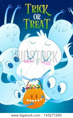 Set of cute cartoon ghosts with different facial expressions on night sky background with pumpkin and candy. Vector illustration to the day of Halloween.