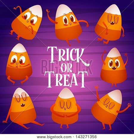 Vector illustration in cartoon style for Halloween. Greeting card. Candy Corn Clip Art Set.