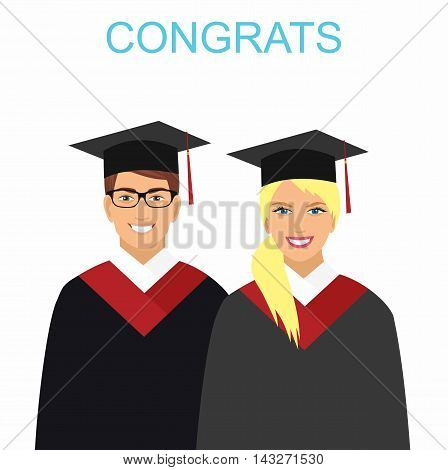 Girl and boy graduates in gowns Vector Illustration