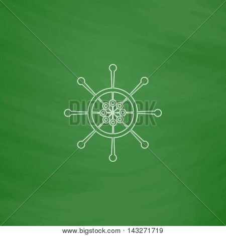 Helm Outline vector icon. Imitation draw with white chalk on green chalkboard. Flat Pictogram and School board background. Illustration symbol