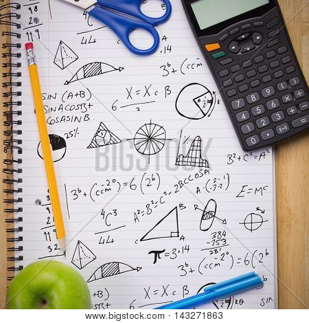 Math equations against students table with school supplies