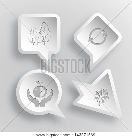 4 images: trees, recycle symbol, apple in hands, plant. Nature set. Paper stickers. Vector illustration icons.