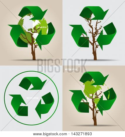 Think green, Ecology concept. Tree with Recycle symbol, vector Illustration