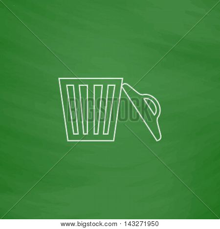 trash Outline vector icon. Imitation draw with white chalk on green chalkboard. Flat Pictogram and School board background. Illustration symbol