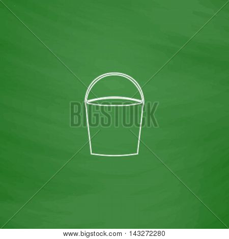 bucket Outline vector icon. Imitation draw with white chalk on green chalkboard. Flat Pictogram and School board background. Illustration symbol