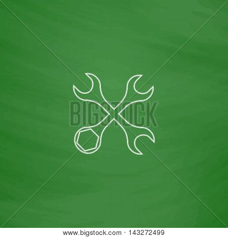Tools Outline vector icon. Imitation draw with white chalk on green chalkboard. Flat Pictogram and School board background. Illustration symbol