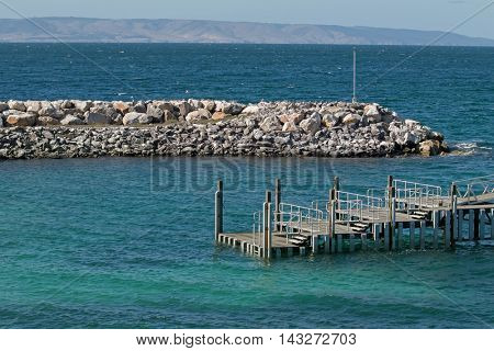 View of Penneshaw Ferry Terminal jetty on Kangaroo Island in South Australia