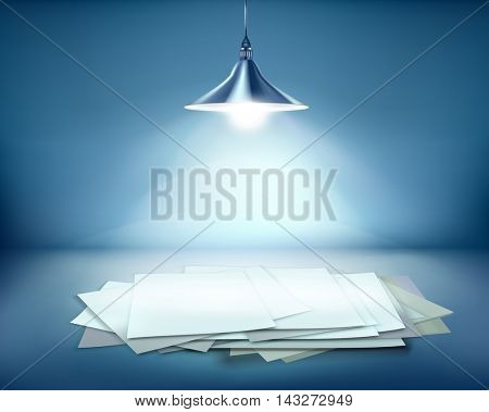 Work place with hanging lamp. Vector illustration.