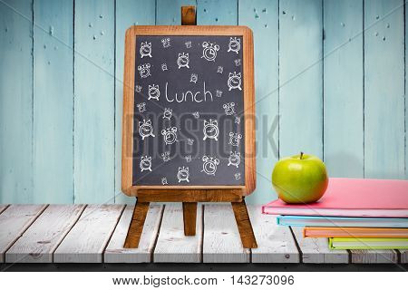 Lunch doodle against composite image of black board Composite image of black board against wooden planks