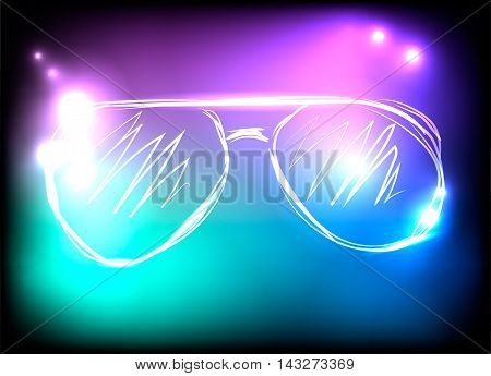 Colorful neon sunglasses on blue, purple and black background. Concept of rest, music, concerts, parties. Vector illustration