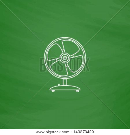 Fan Outline vector icon. Imitation draw with white chalk on green chalkboard. Flat Pictogram and School board background. Illustration symbol