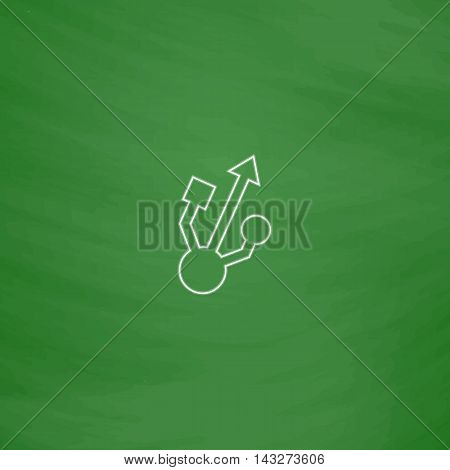 usb Outline vector icon. Imitation draw with white chalk on green chalkboard. Flat Pictogram and School board background. Illustration symbol