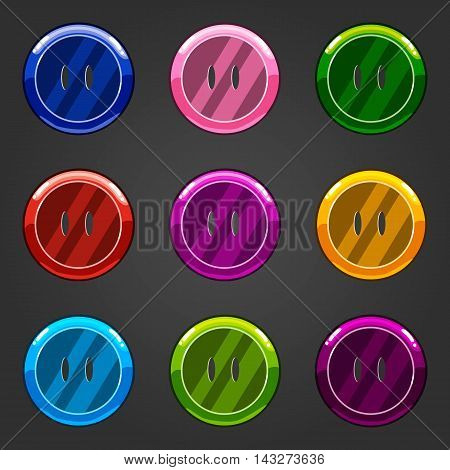 Set of multicolored vector button closing. Illustration for game design and web.