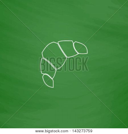 Croissant Outline vector icon. Imitation draw with white chalk on green chalkboard. Flat Pictogram and School board background. Illustration symbol