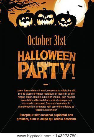 Halloween Party Invitation Flyer. Editable Vector