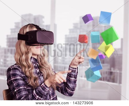 Pretty casual worker using oculus rift against view of a city