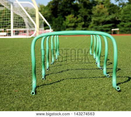 six banana steps/hurdles set up for a training seccion