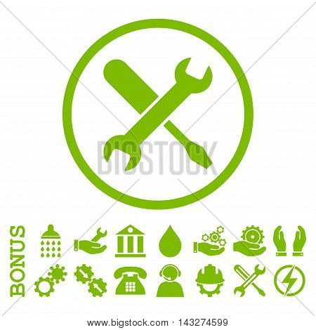 Tuning glyph icon. Image style is a flat pictogram symbol inside a circle, eco green color, white background. Bonus images are included.
