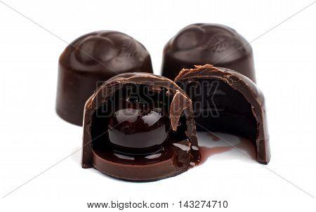 chocolate covered cherries dessert bonbon white background