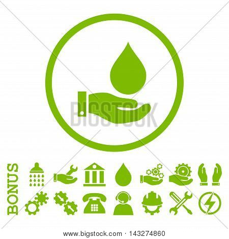 Water Service glyph icon. Image style is a flat pictogram symbol inside a circle, eco green color, white background. Bonus images are included.
