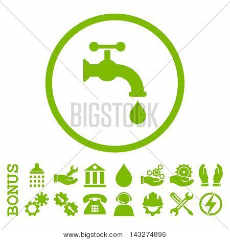 Water Tap glyph icon. Image style is a flat pictogram symbol inside a circle, eco green color, white background. Bonus images are included.