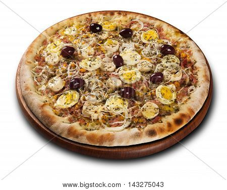 Pizza Palmetto, On Wooden Board On White Background.