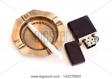 ashtray and cigarette lighter on a white background