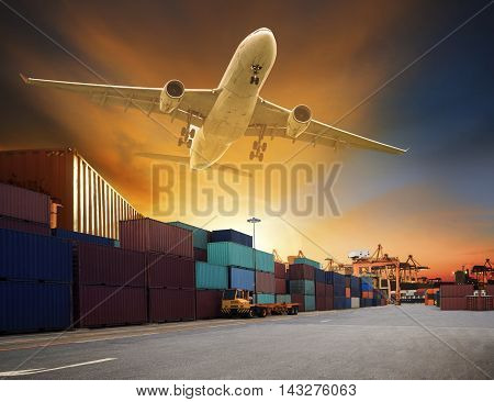 cargo plane flying above container dock and ship port use for transportation and freight logistic industry business