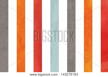 Watercolor Orange, Blue, Red And Grey Striped Background.