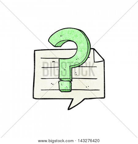 freehand textured cartoon question mark speech bubble