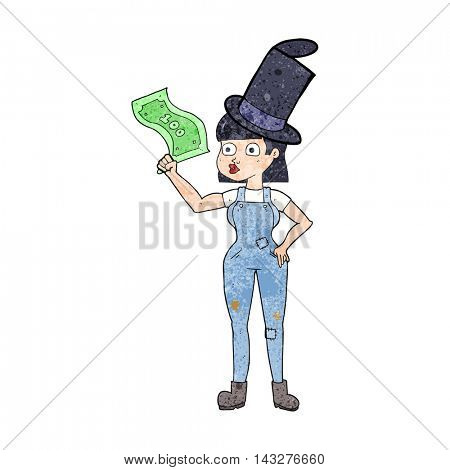 freehand textured cartoon woman holding on to money