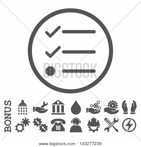 Checklist glyph icon. Image style is a flat pictogram symbol inside a circle, gray color, white background. Bonus images are included.