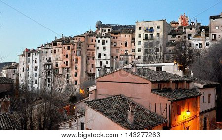 CUENCA SPAIN - JANUARY 5: View of the hanging houses of Cuenca on January 5 2013. Cuenca is a city in the autonomous community of Castile La Mancha.