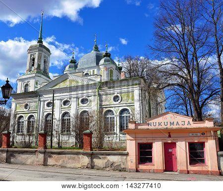 TARTU ESTONIA - APRIL 28: Oldorthodox church in the street of Tartu on April 28 2013. Tartu is a one of most beautiful and touristic cities of Estonia.