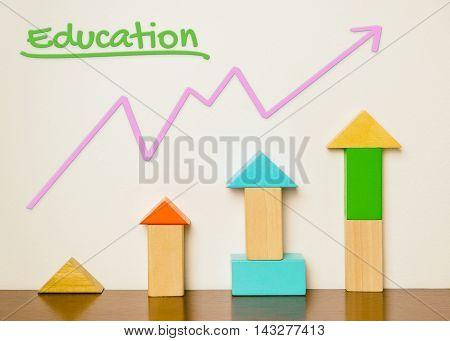 Education colorful grown graphic diagram. Children colorful toy blocks growing up as their education play and learn. Education development growing in colorful pastel tone.