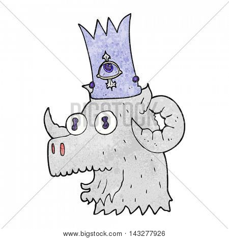 freehand textured cartoon ram head with magical crown