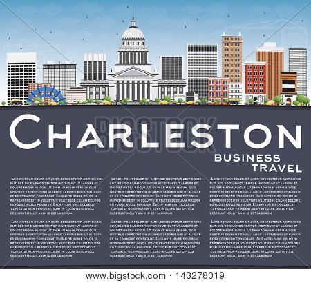 Charleston Skyline with Gray Buildings, Blue Sky and Copy Space. West Virginia. Vector Illustration. Business Travel and Tourism Concept with Modern Buildings. Image for Presentation Banner Placard.