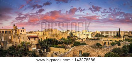 Malta - Amazing sunset and dramatic sky on a panoramic view at Mosta, Malta